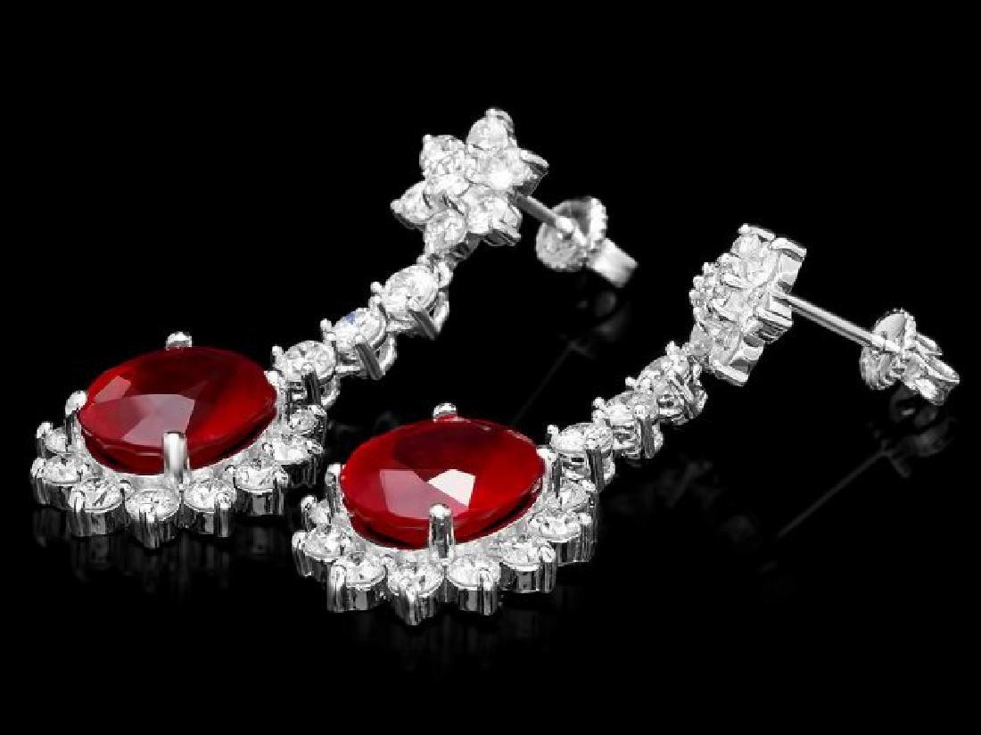 14k Gold 9.00ct Ruby 3.00ct Diamond Earrings