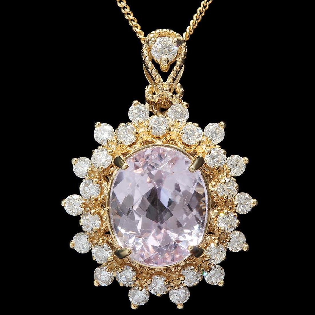 14K Gold 5.30ct Kunzite 1.00ct Diamond Pendant