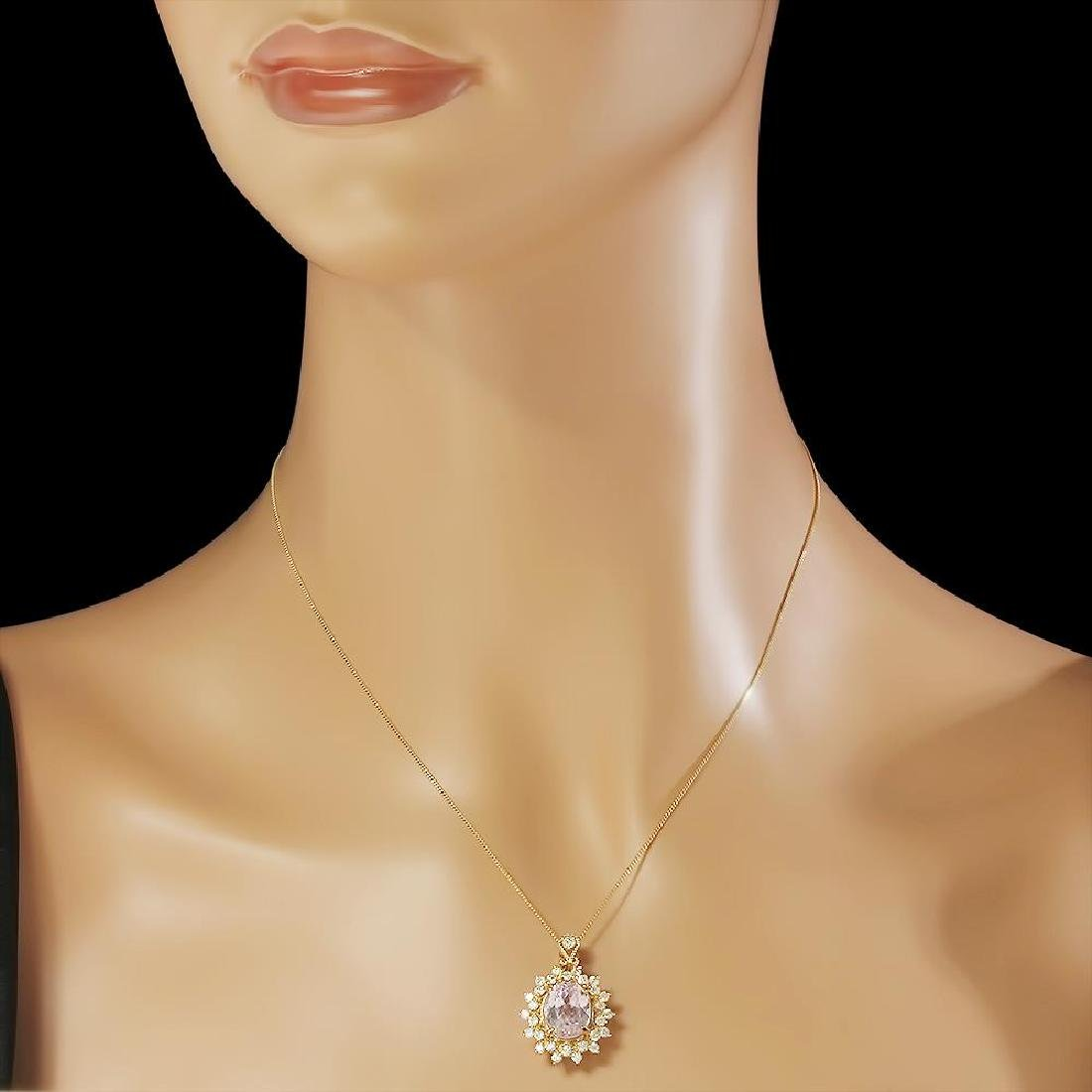 14K Gold 5.30ct Kunzite 1.00ct Diamond Pendant - 3