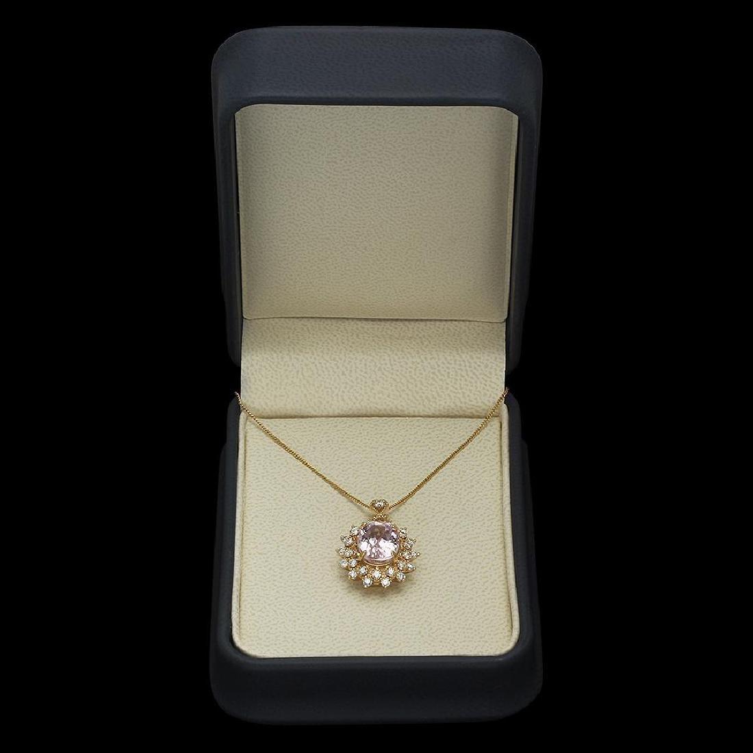 14K Gold 5.30ct Kunzite 1.00ct Diamond Pendant - 4
