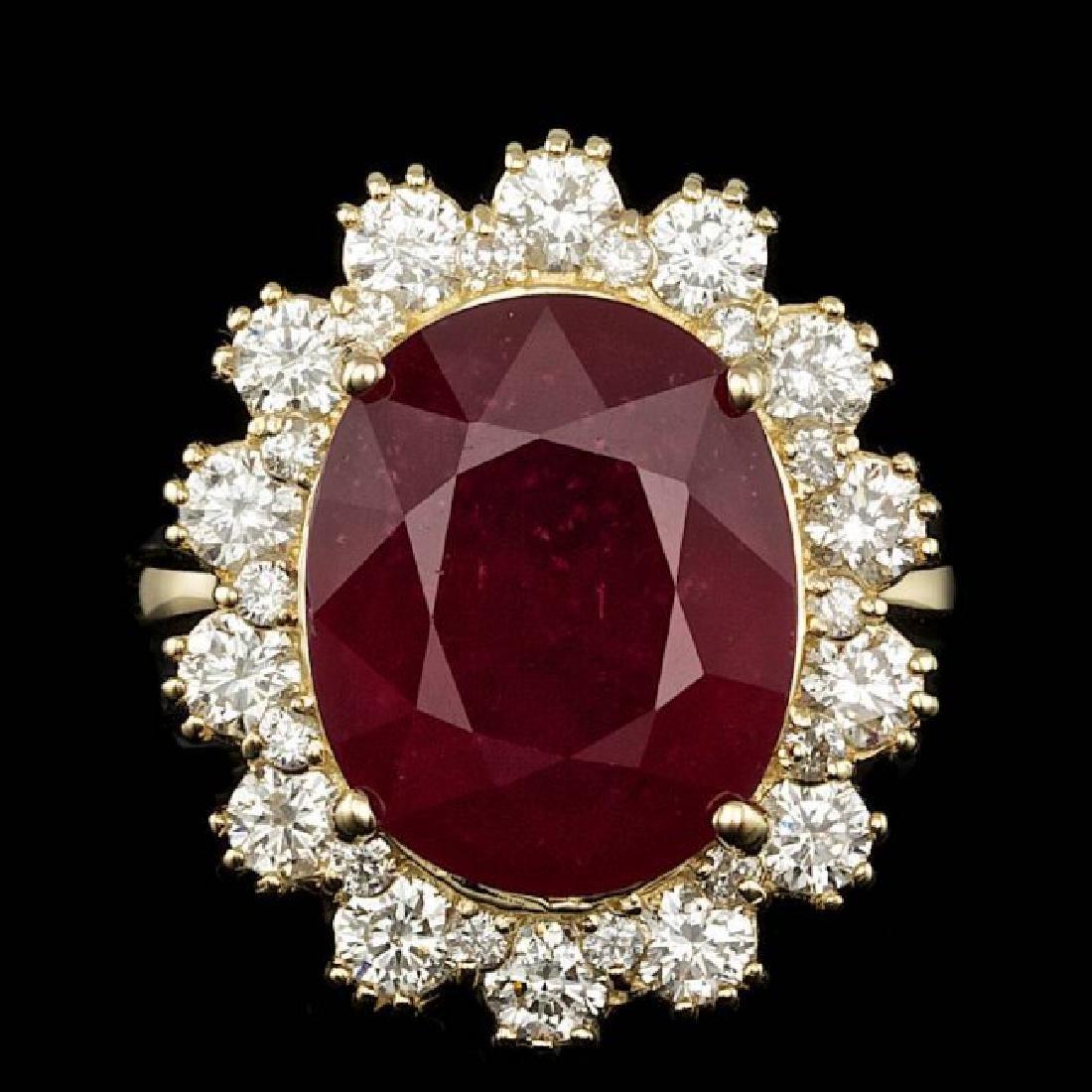 14k Yellow Gold 11.00ct Ruby 1.40ct Diamond Ring
