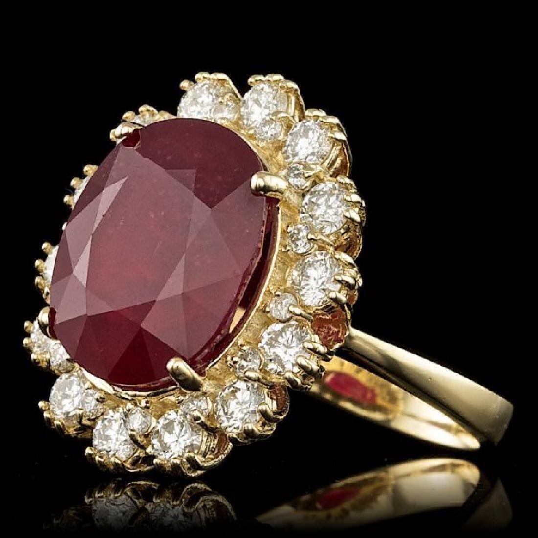 14k Yellow Gold 11.00ct Ruby 1.40ct Diamond Ring - 2