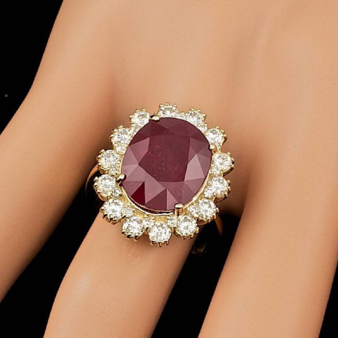 14k Yellow Gold 11.00ct Ruby 1.40ct Diamond Ring - 3
