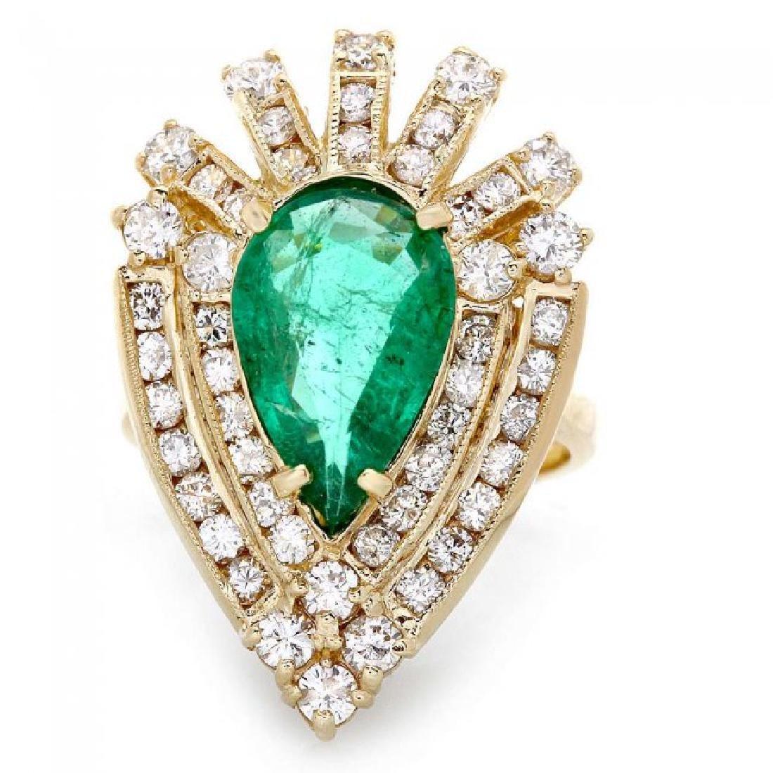 14k Gold 3.00ct Emerald 2.00ct Diamond Ring - 2
