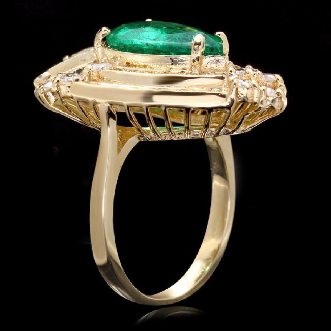 14k Gold 3.00ct Emerald 2.00ct Diamond Ring - 3