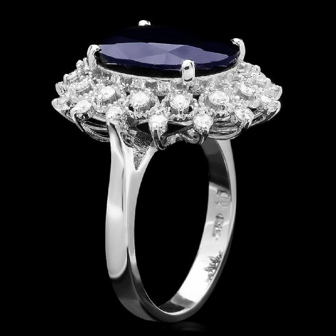 14k Gold 8.60ct Sapphire 0.73ct Diamond Ring - 2