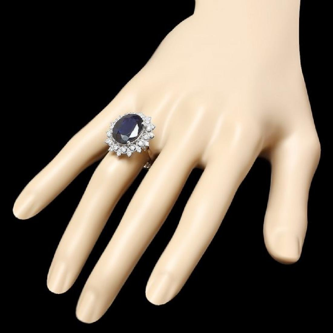 14k Gold 8.60ct Sapphire 0.73ct Diamond Ring - 3