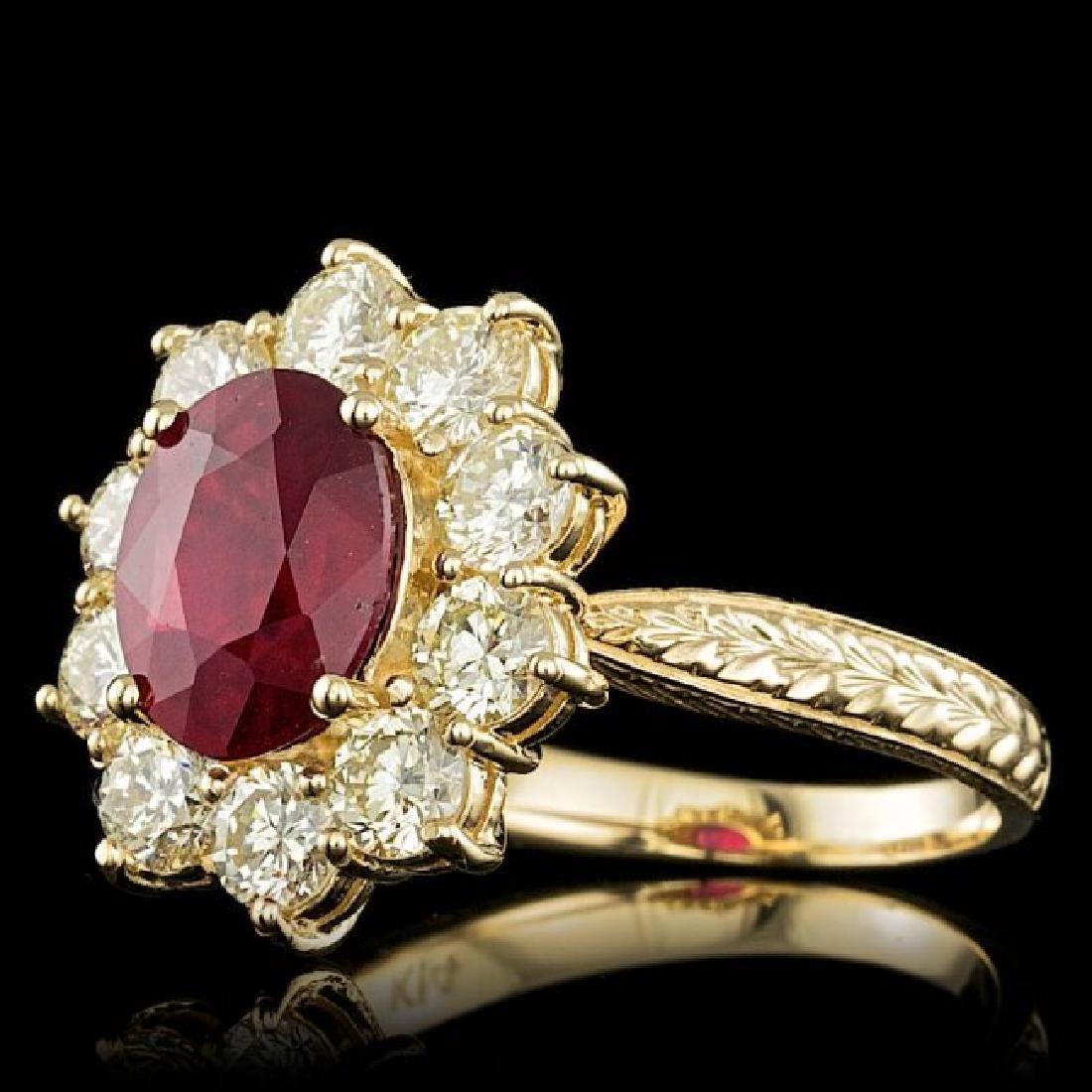 14k Yellow Gold 3.00ct Ruby 2.10ct Diamond Ring - 2