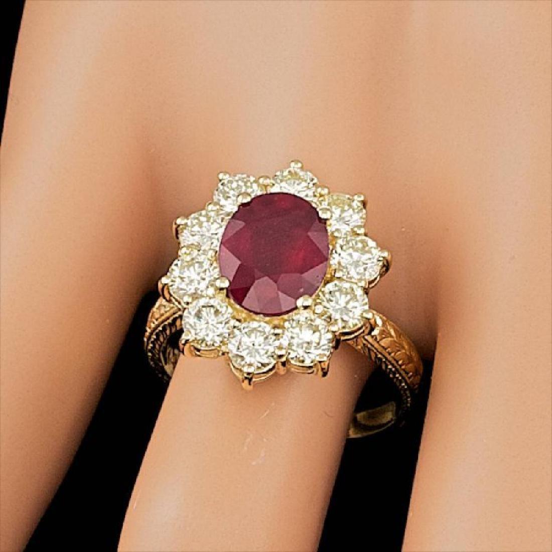 14k Yellow Gold 3.00ct Ruby 2.10ct Diamond Ring - 3