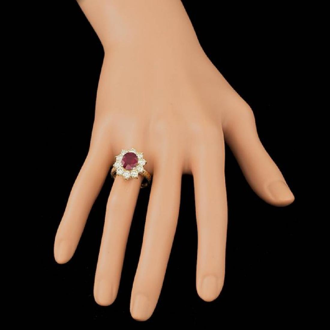 14k Yellow Gold 3.00ct Ruby 2.10ct Diamond Ring - 4