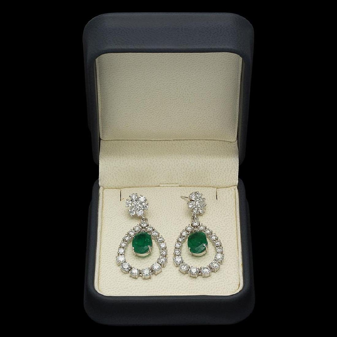 14K Gold 5.83ct Emerald 7.00ct Diamond Earrings - 2