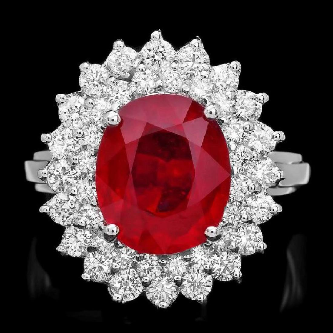 14k White Gold 4.50ct Ruby 1.40ct Diamond Ring
