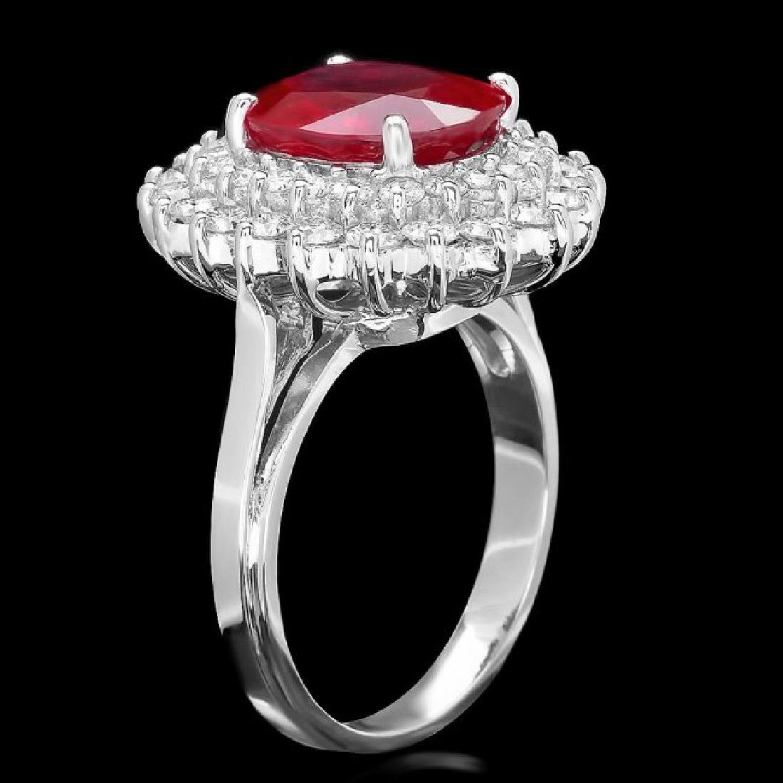 14k White Gold 4.50ct Ruby 1.40ct Diamond Ring - 2