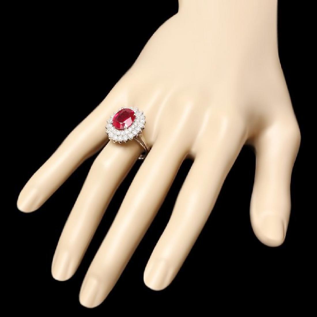 14k White Gold 4.50ct Ruby 1.40ct Diamond Ring - 3