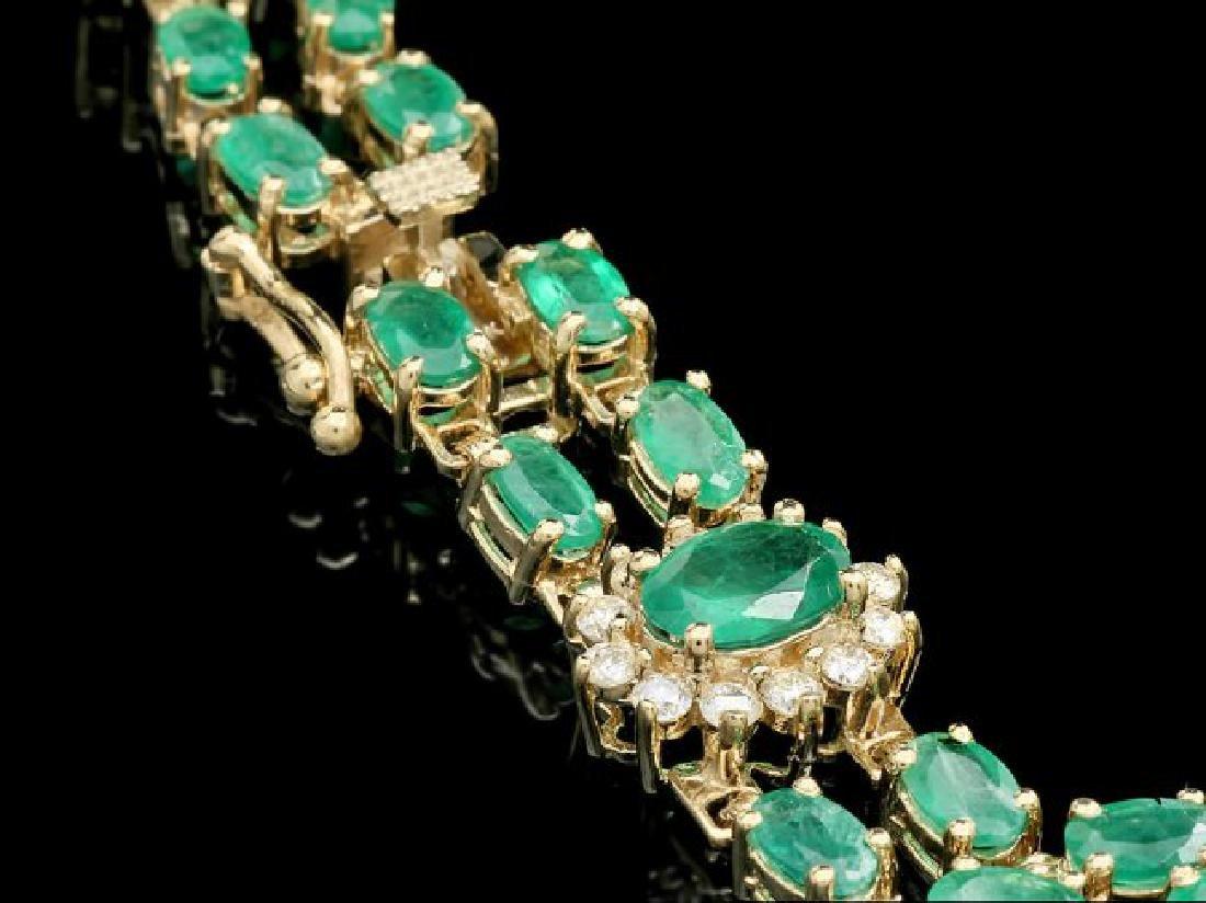 14k Gold 11ct Emerald 1.40ct Diamond Bracelet - 2