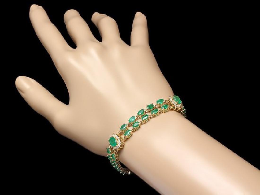14k Gold 11ct Emerald 1.40ct Diamond Bracelet - 3