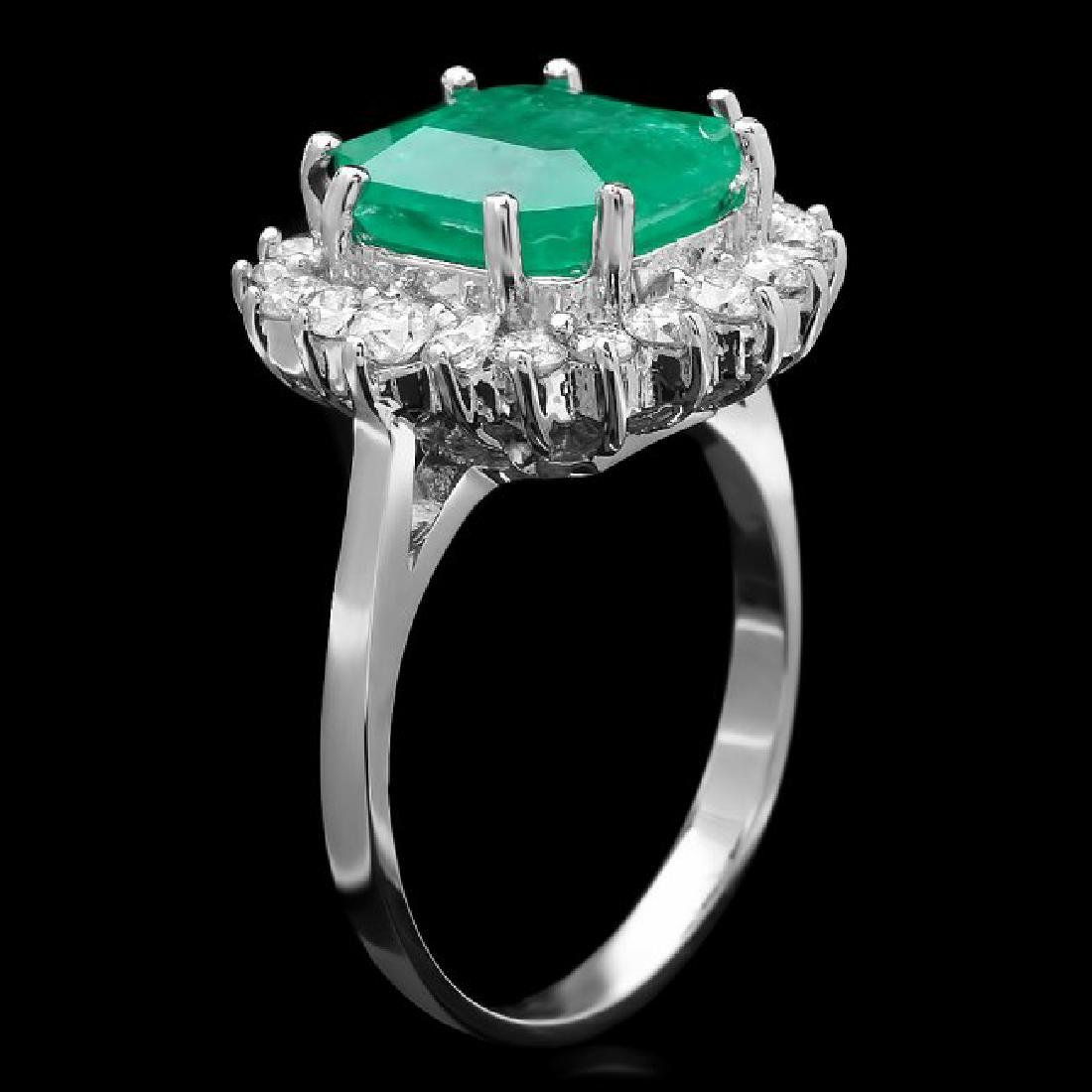 14k White Gold 3.70ct Emerald 0.90ct Diamond Ring - 2