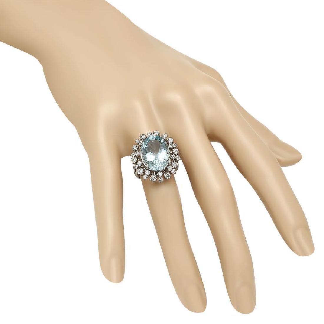14K Gold 8.00ct Aquamarine 1.23ct Diamond Ring - 3