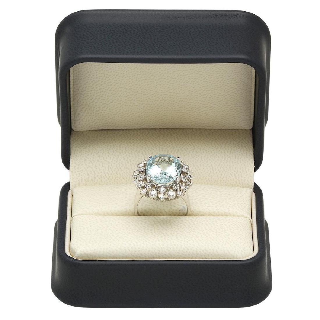14K Gold 8.00ct Aquamarine 1.23ct Diamond Ring - 4
