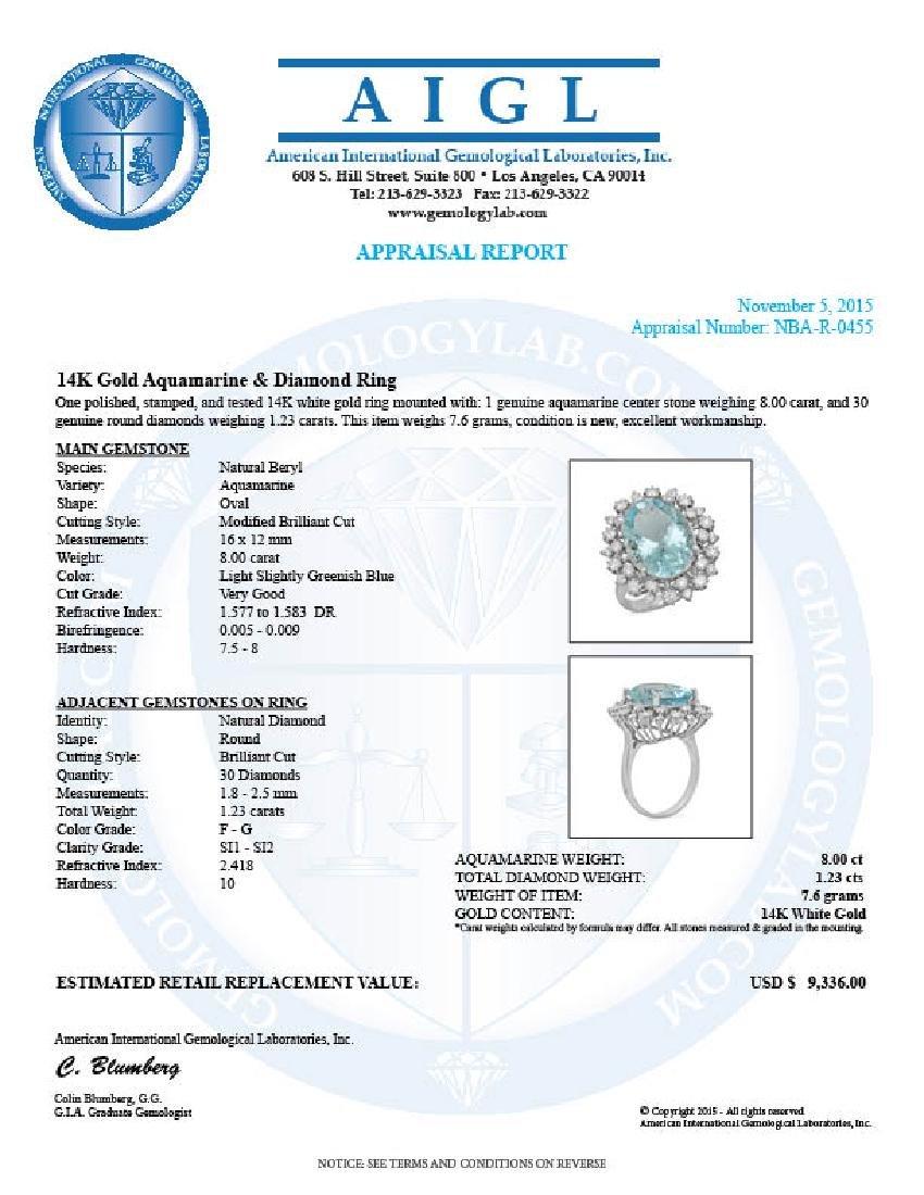 14K Gold 8.00ct Aquamarine 1.23ct Diamond Ring - 5