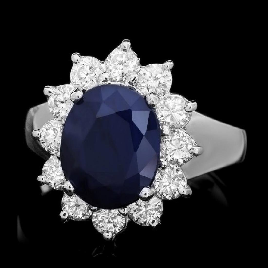 14k Gold 4.00ct Sapphire 1.10ct Diamond Ring