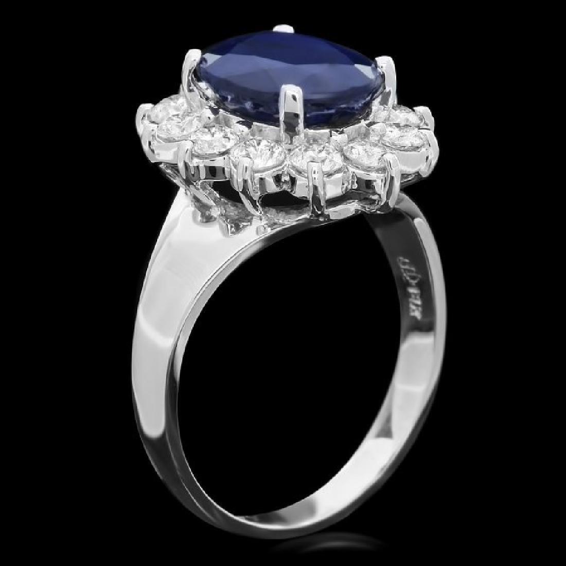 14k Gold 4.00ct Sapphire 1.10ct Diamond Ring - 2