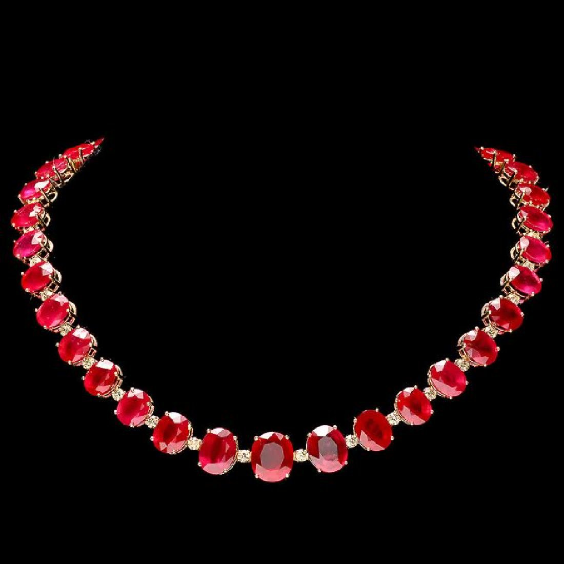 14k Gold 137ct Ruby 4.15ct Diamond Necklace