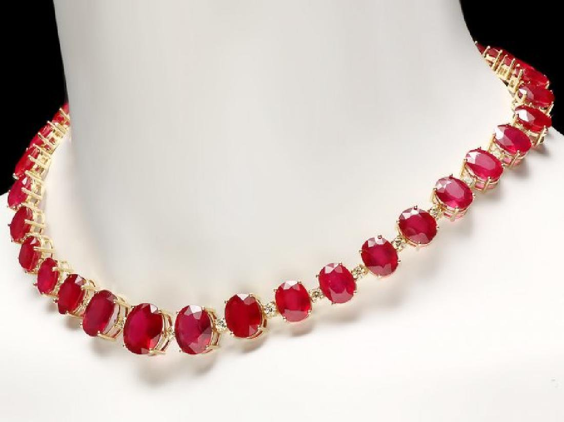 14k Gold 137ct Ruby 4.15ct Diamond Necklace - 2