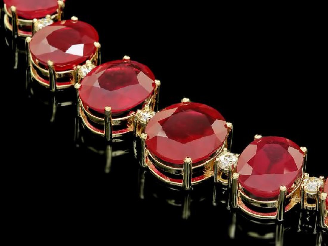 14k Gold 137ct Ruby 4.15ct Diamond Necklace - 3