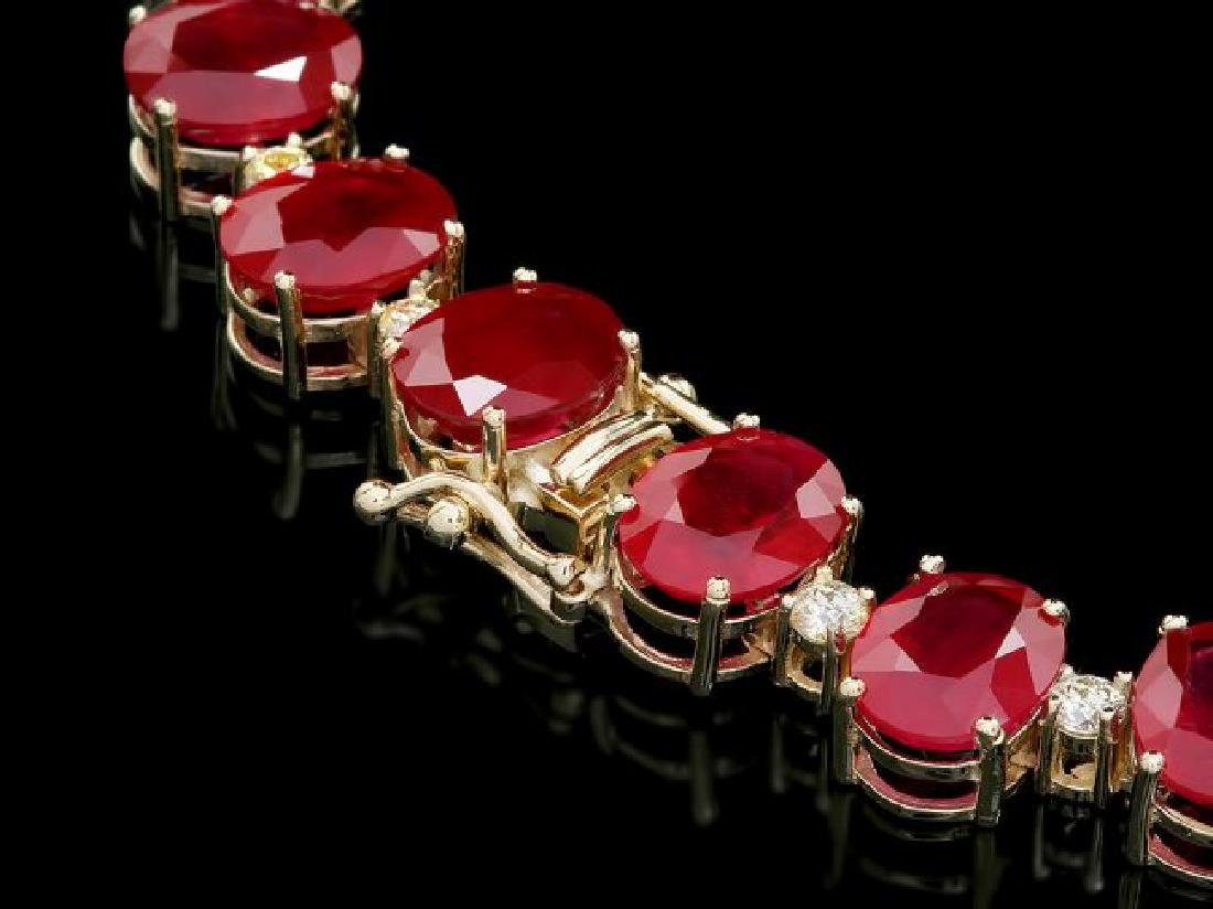 14k Gold 137ct Ruby 4.15ct Diamond Necklace - 4