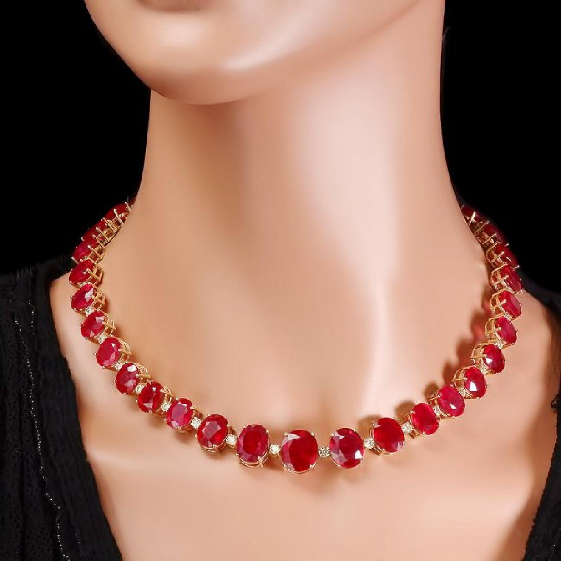 14k Gold 137ct Ruby 4.15ct Diamond Necklace - 6