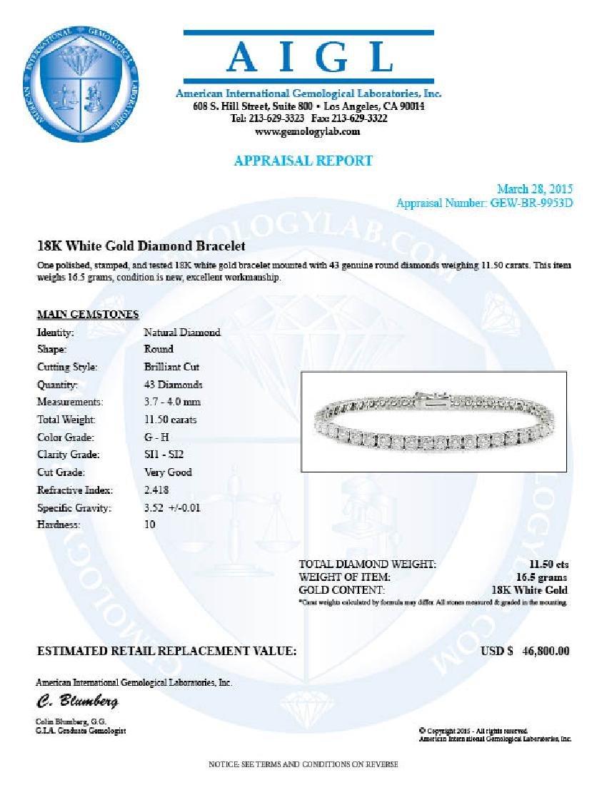 18k White Gold 11.50ct Diamond Bracelet - 6