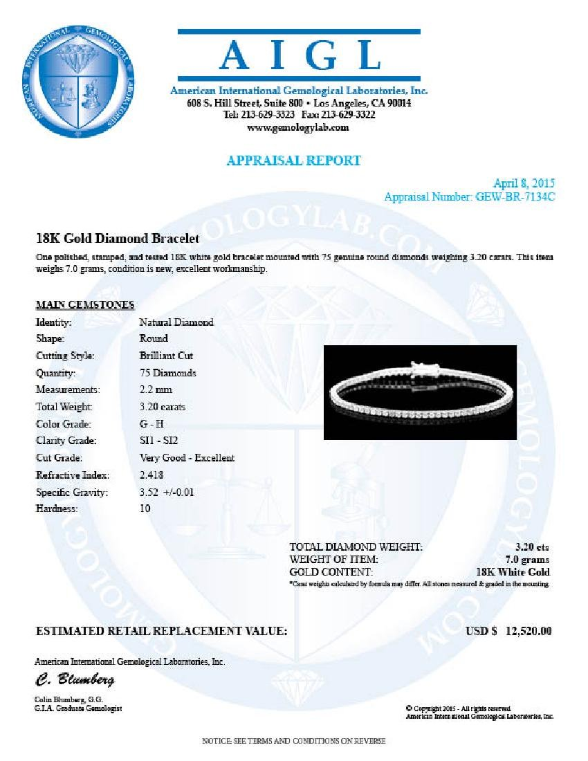 18k White Gold 3.20ct Diamond Bracelet - 6