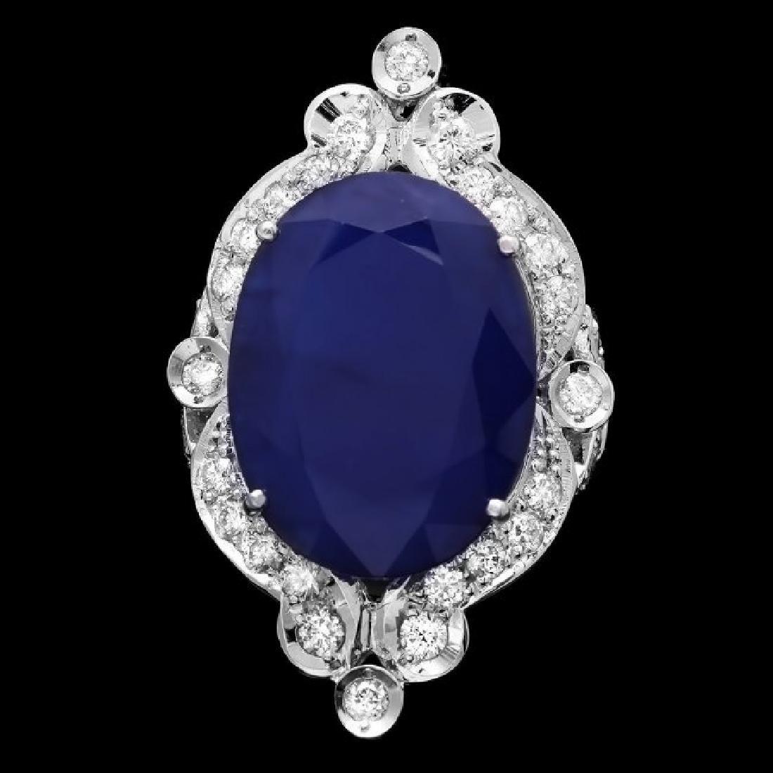 14k Gold 19.15ct Sapphire 1.30ct Diamond Ring