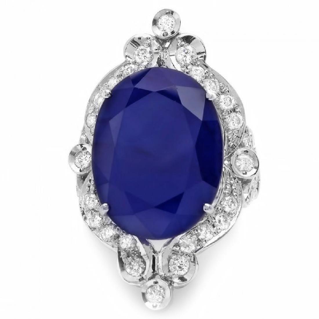 14k Gold 19.15ct Sapphire 1.30ct Diamond Ring - 2