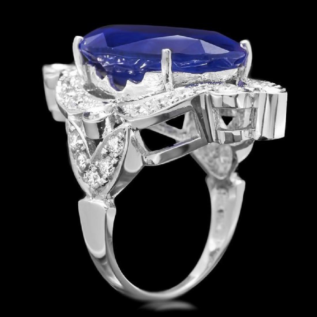 14k Gold 19.15ct Sapphire 1.30ct Diamond Ring - 3