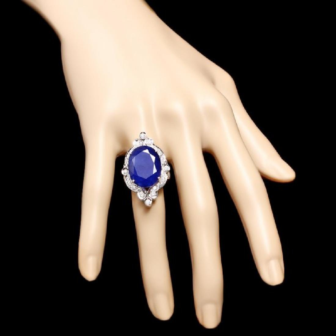 14k Gold 19.15ct Sapphire 1.30ct Diamond Ring - 4