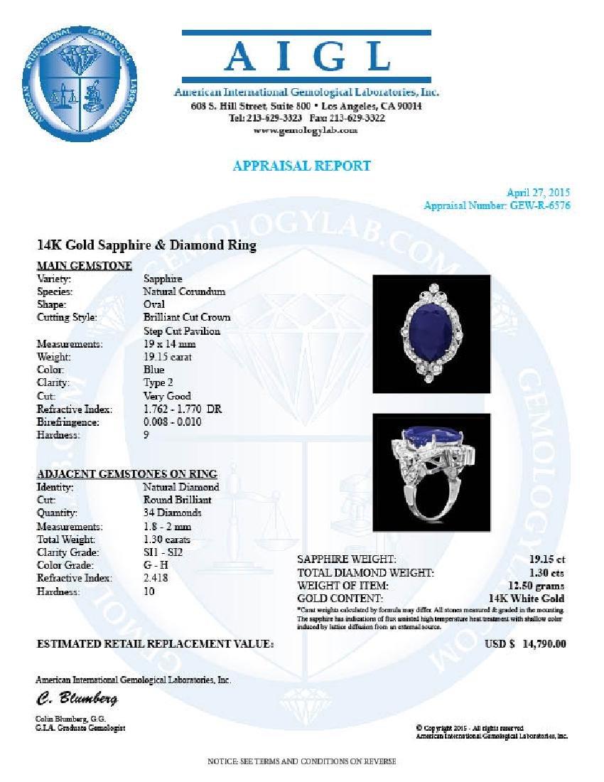 14k Gold 19.15ct Sapphire 1.30ct Diamond Ring - 5