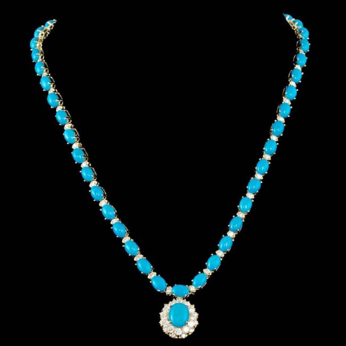 14k Gold 35.5ct Turquoise 3.50ct Diamond Necklace