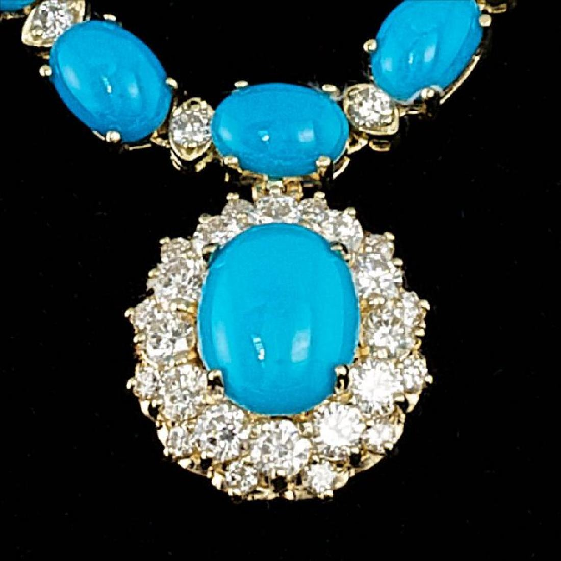 14k Gold 35.5ct Turquoise 3.50ct Diamond Necklace - 2