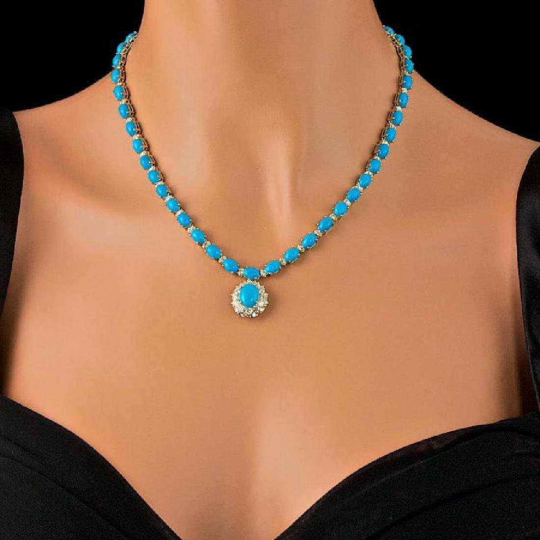 14k Gold 35.5ct Turquoise 3.50ct Diamond Necklace - 4
