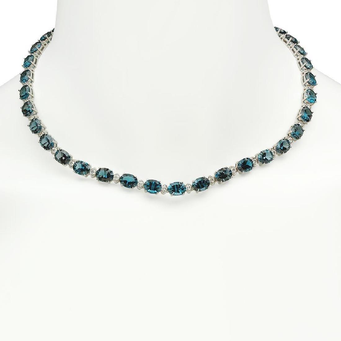 14K Gold 56.38ct Topaz 2.73ct Diamond Necklace
