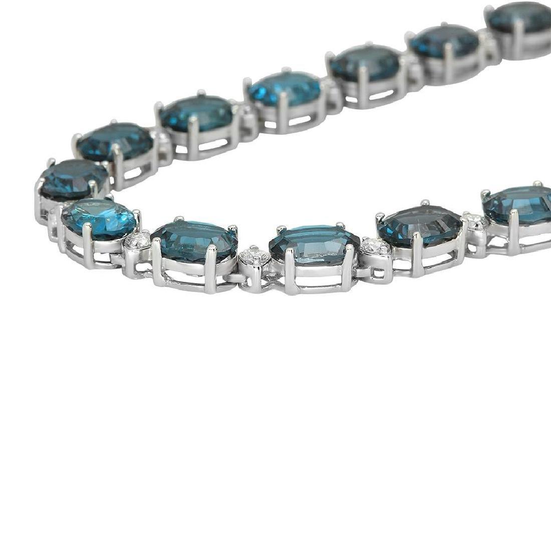 14K Gold 56.38ct Topaz 2.73ct Diamond Necklace - 2