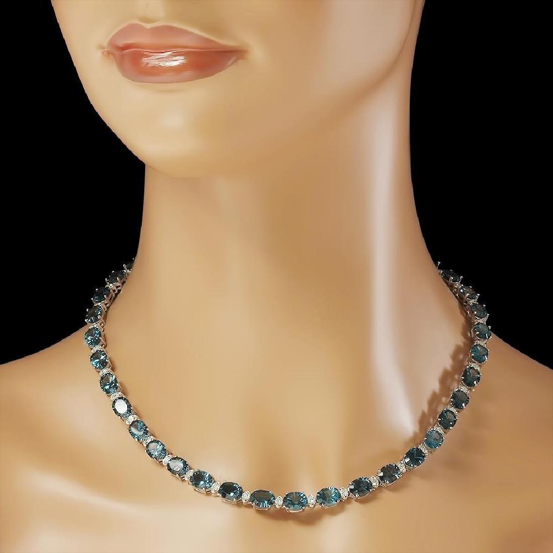 14K Gold 56.38ct Topaz 2.73ct Diamond Necklace - 3