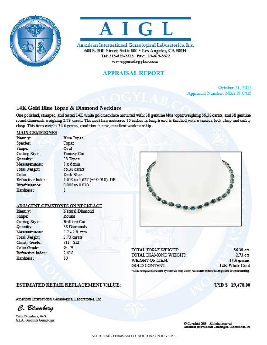 14K Gold 56.38ct Topaz 2.73ct Diamond Necklace - 5