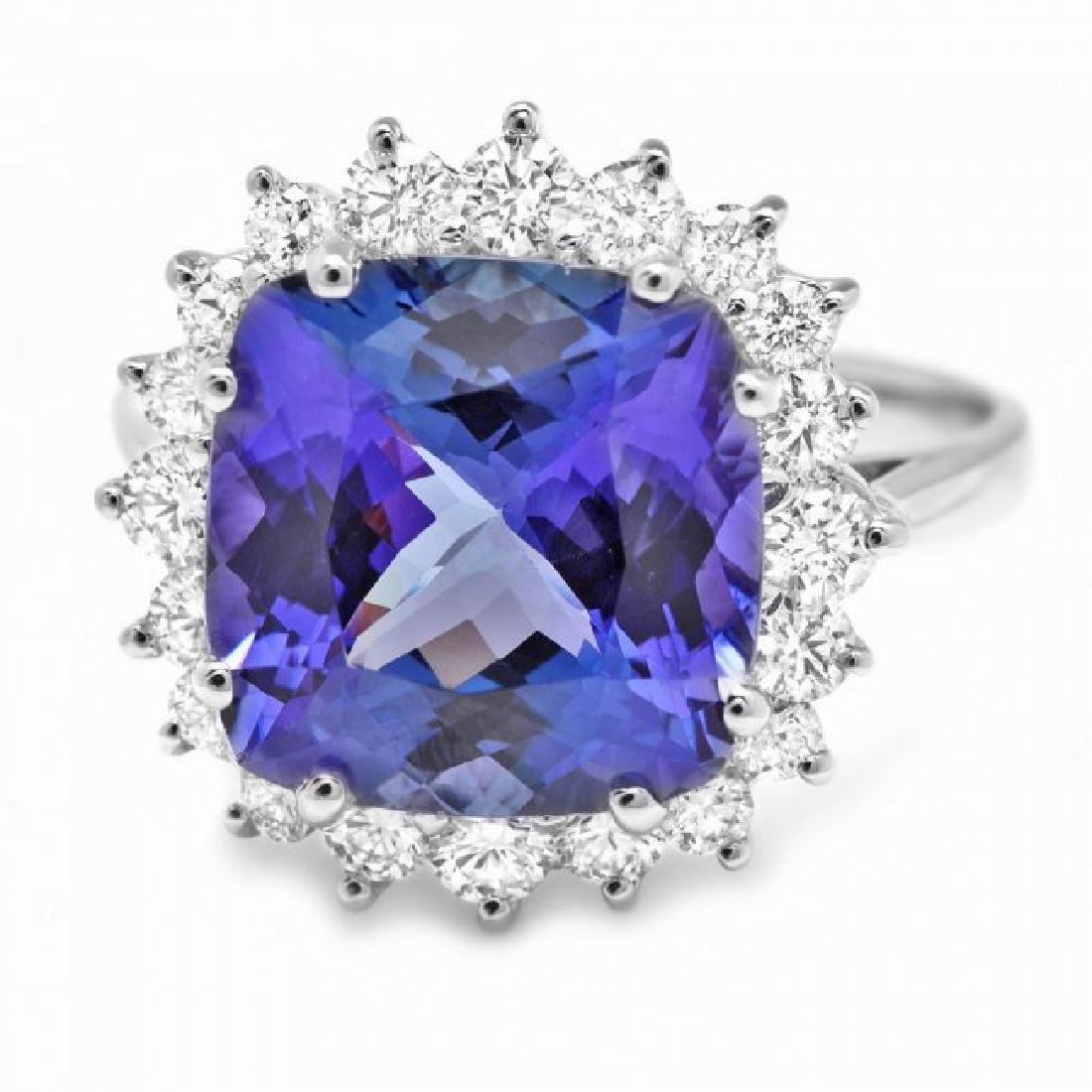 14k Gold 5.50ct Tanzanite 0.80ct Diamond Ring - 2