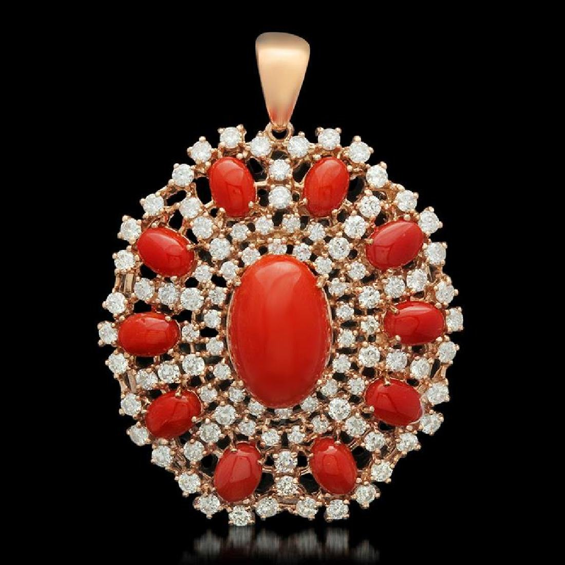14K Yellow Gold 15.72ct Coral 5.48ct Diamond Pendant