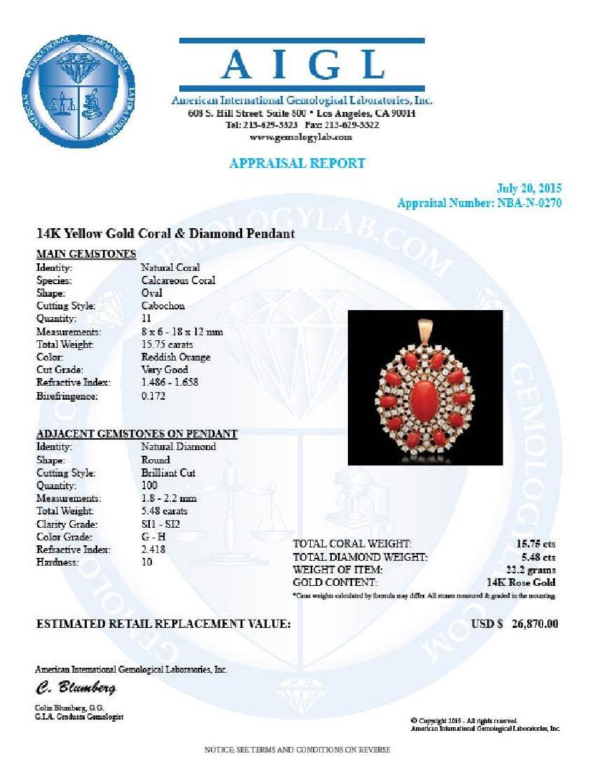 14K Yellow Gold 15.72ct Coral 5.48ct Diamond Pendant - 3