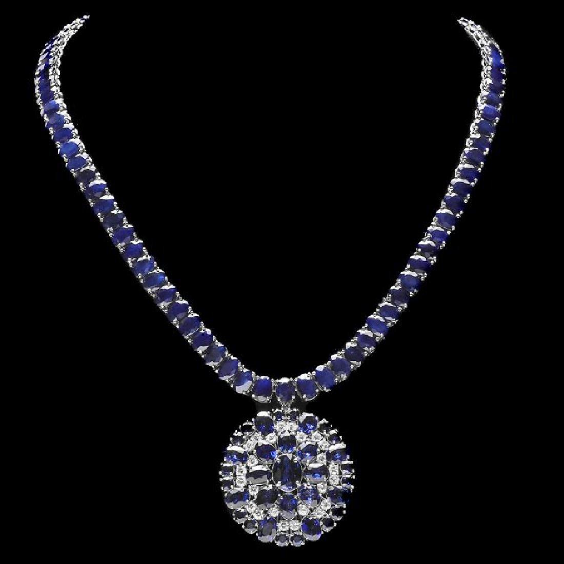 14k Gold 94ct Sapphire 1.80ct Diamond Pendant