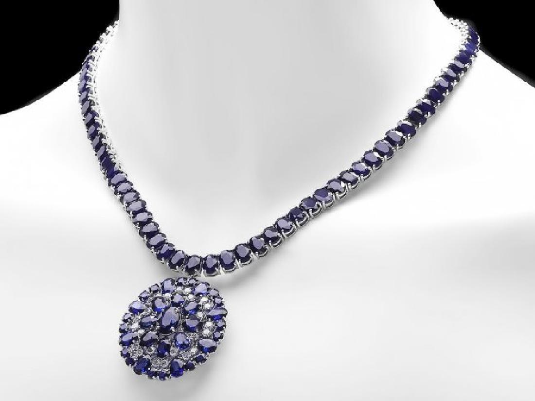 14k Gold 94ct Sapphire 1.80ct Diamond Pendant - 2